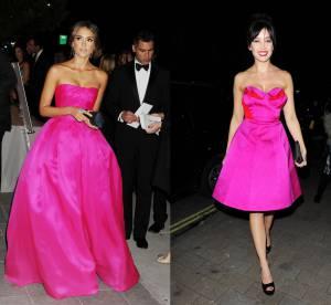 Jessica Alba vs Daisy Lowe : la robe bustier rose fluo