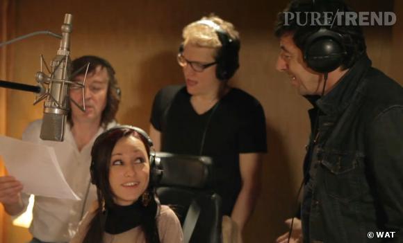 """Patrick Bruel, Bénabar, Cali et Marina Russo lors de l'enregistrement de """"L'Arc-en-ciel""""."""