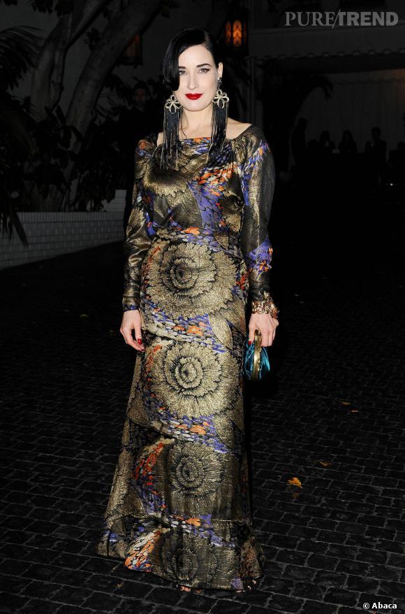 Dita von Teese, paon glamour à la soirée W Magazine pré-Golden Globes 2014.