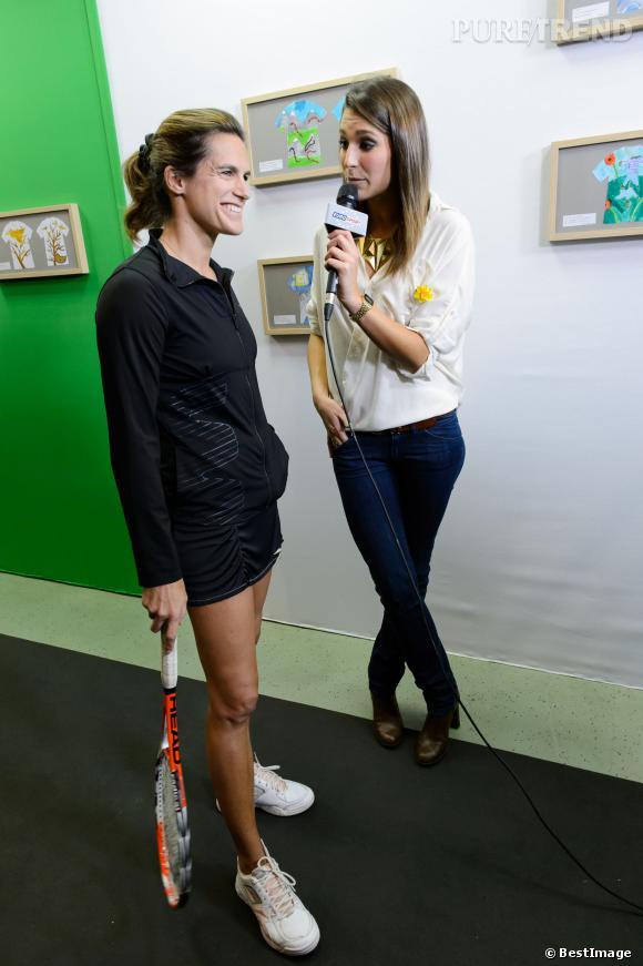 Laury Thilleman, envoyée spéciale d'Eurosport à la soirée d'Amélie Mauresmo, hier soir.