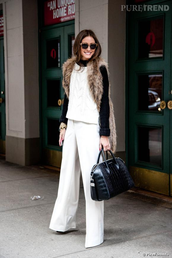 Olivia Palermo raffole du gilet en fourrure. Très élégant avec du blanc.