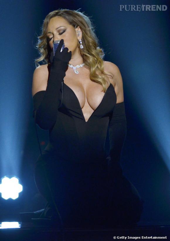 Mariah Carey, un décolleté qui ne laisse aucune place à l'imagination le 8 février 2014 aux Bet Honors 2014.