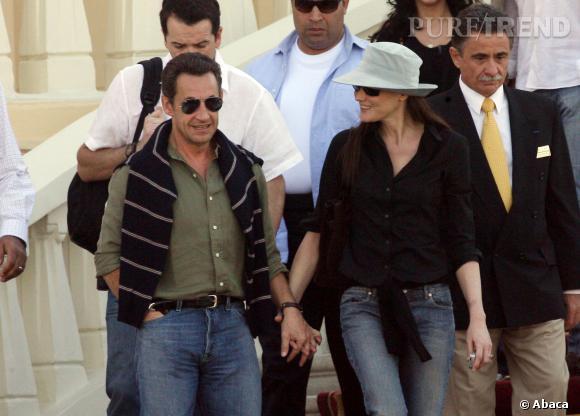 Carla Bruni et Nicolas Sarkozy, un couple complice en Egypte en 2007.