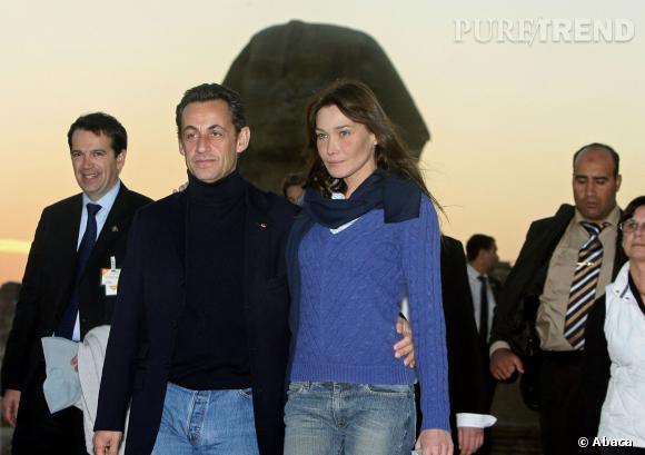 Carla Bruni et Nicolas Sarkozy, en Egypte en 2007.