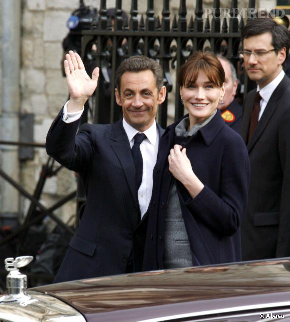 Carla Bruni et Nicolas Sarkozy, couple pétillant en Angleterre en 2008.