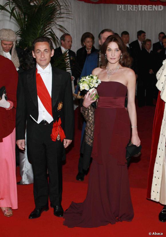 Carla Bruni et Nicolas Sarkozy, couple glamour en Angleterre en 2008.