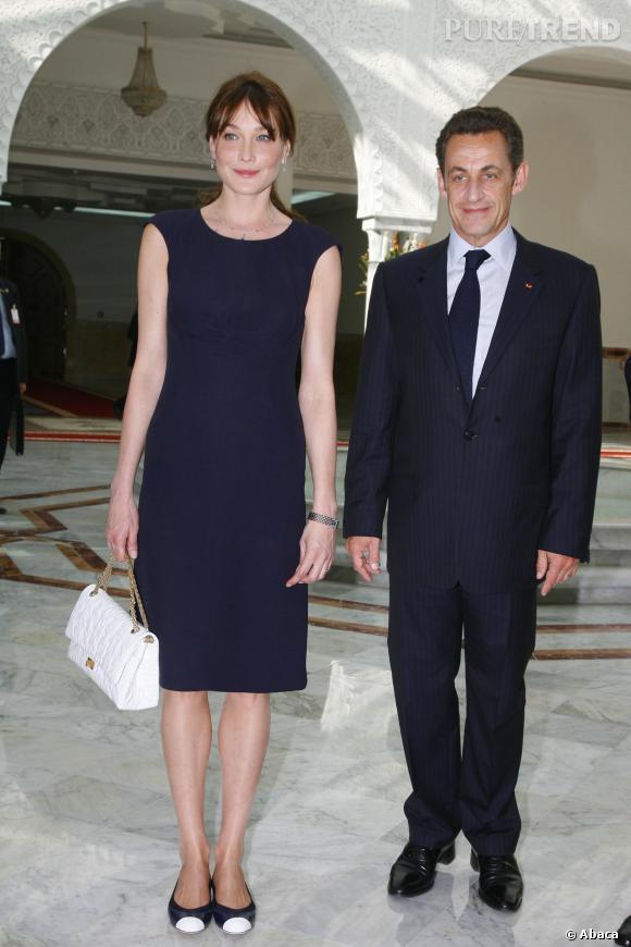 Carla Bruni et Nicolas Sarkozy, couple au chic à la française en Tunisie en 2008.