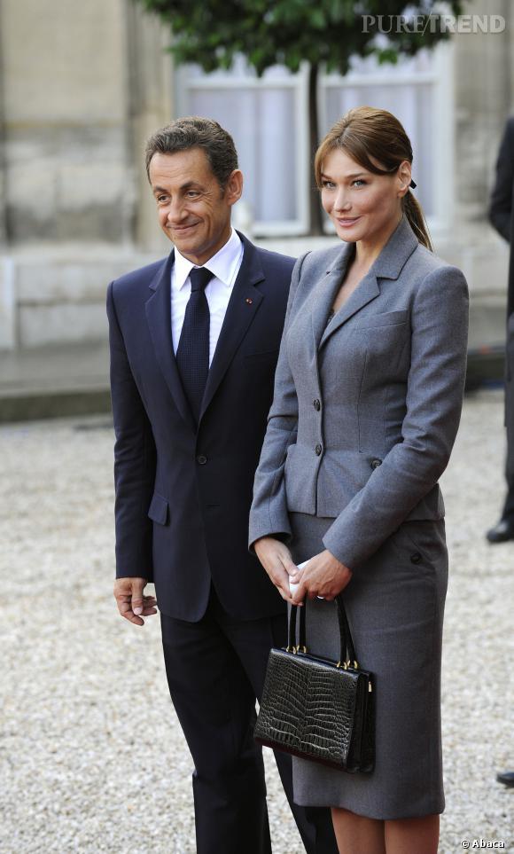 Carla Bruni et Nicolas Sarkozy, couple classe pour la visite du Pape à Paris en 2008.