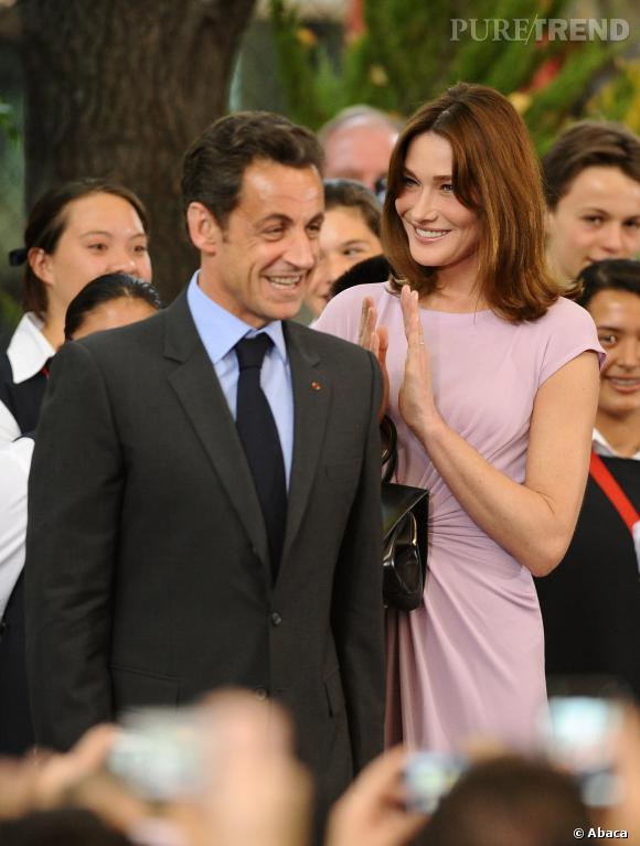 Carla Bruni, une Première dame fière de son Président de mari, Nicolas Sarkozy, en 2009.