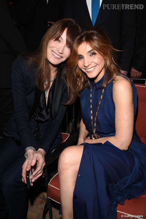 Carla Bruni et Clotilde Courau célèbrent l'inauguration de la boutique Bulgari rénovée à Rome le 20 mars 2014.