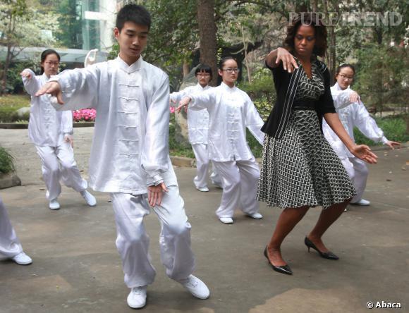 Michelle Obama s'adonne au tai-chi en Chine, le 24 mars 2014.