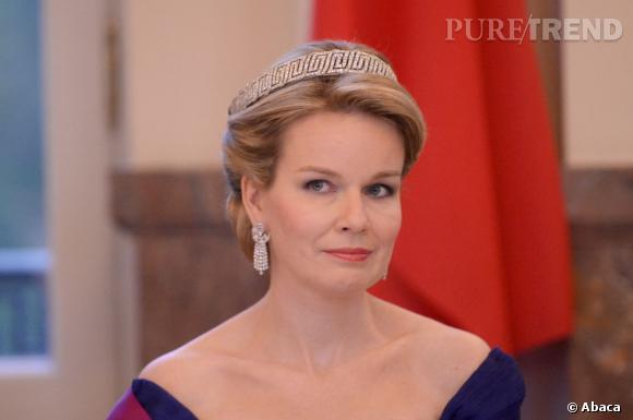 La Reine Mathilde de Belgique célèbre la venue du Président chinois Xi Jiping le 31 mars 2014 à Bruxelles.