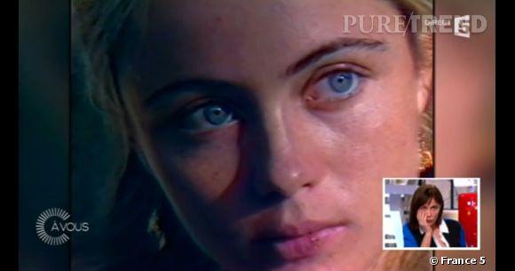 Dans la vidéo, on découvre une jeune Emmanuelle Béart, émue par l'expulsion de ses parents.