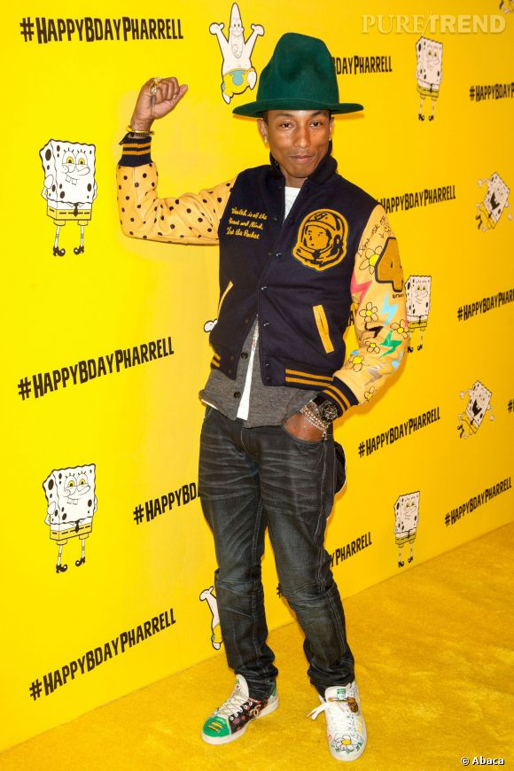 Pharrell Williams célèbre ses 41 ans à New York le 4 avri 2014.