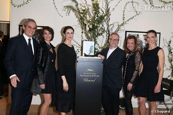 Rodrigo Cipriani, Bérénice Béjo, Livia Firth, Thierry Frémaux, Caroline Scheufele et Hilary Swank autour de la Palme d'Or Chopard 2014.