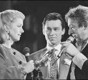 Michel Denisot avec Catherine Deneuve et Serge Gainsbourg en 1985 pour le 1er anniversaire de Canal+.