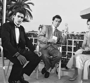 Michel Denisot, Anthony Delon et Isabella Rossellini au Festival de Cannes en 1987.