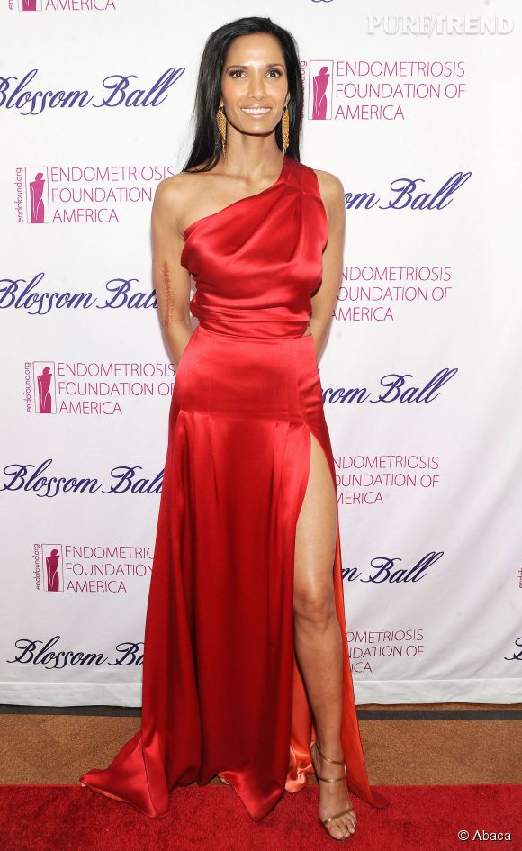 Richard Gere a fait le bon choix. Padma Lakshmi est sublime dans cette robe rouge en satin, à New-York le 7 mars 2014.