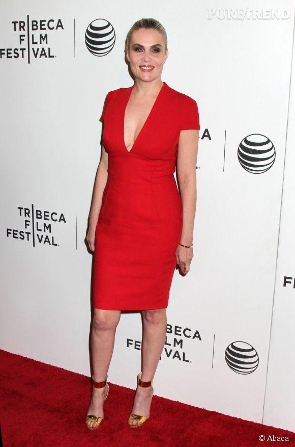 """Emmanuelle Seigner à la projection de """"La Vénus à la fourrure"""" à Tribeca le 22 avril 2014 à New York."""