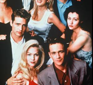 "Le casting de ""Beverly Hills 90210"" avec Shannen Doherty, Jason Priestley, Tori Spelling, Jennie Garth ainsi que Luke Perry."