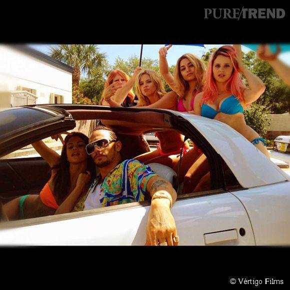 "Ashley Benson, Rachel Korine, Selena Gomez, Vanessa Hudgens et James Franco sur le tournage du film ""Spring Breakers""."
