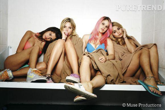 "Ashley Benson, Rachel Korine, Selena Gomez, Vanessa Hudgens dans ""Spring Breakers""."