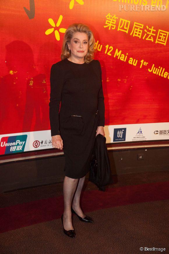 Catherine Deneuve à l'ouverture du Festival du film choinois en France le 12 mai 2014.