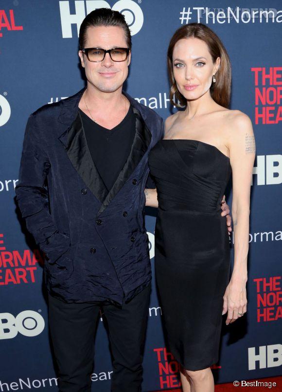 """Angelina Jolie et Brad Pitt à la première de """"The Normal Heart"""" à New York le 12 mai 2014."""