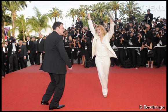 Mélanie Laurent et Quentin Tarantino faisant les fous lors du Festival de Cannes 2009.