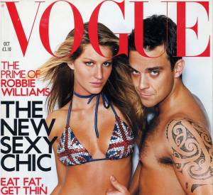 Gisele Bündchen et Robbie Williams pour Vogue en 2009.