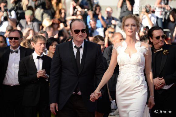 Quentin Tarantino et Uma Thurman créent le buzz lors de la montée des marches pour la cérémonie de clôture du 67ème Festival de Cannes.