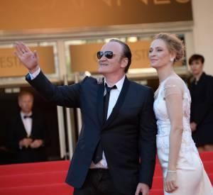Uma Thurman et Quentin Tarantino lors de la montée des marches pour la cérémonie de clôture du 67ème Festival de Cannes.
