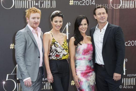 Le casting de Défiance - Jaime Murray, Tony Curran, Julie Benz, Grant Bowler - au photocall du Festival de Télévision de Monte-Carlo 2014.