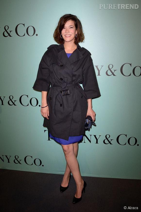 Mélanie Doutey porte une robe Gerard Darel et des bijoux Tiffany & Co lors de la soirée d'ouverture de la nouvelle boutique Tiffany & Co sur les Champs Élysées à Paris le 10 juin 2014.