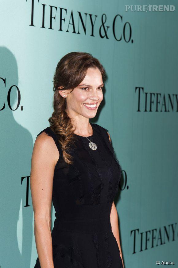 Hilary Swank lors de la soirée d'ouverture de la nouvelle boutique Tiffany & Co sur les Champs Élysées à Paris le 10 juin 2014.