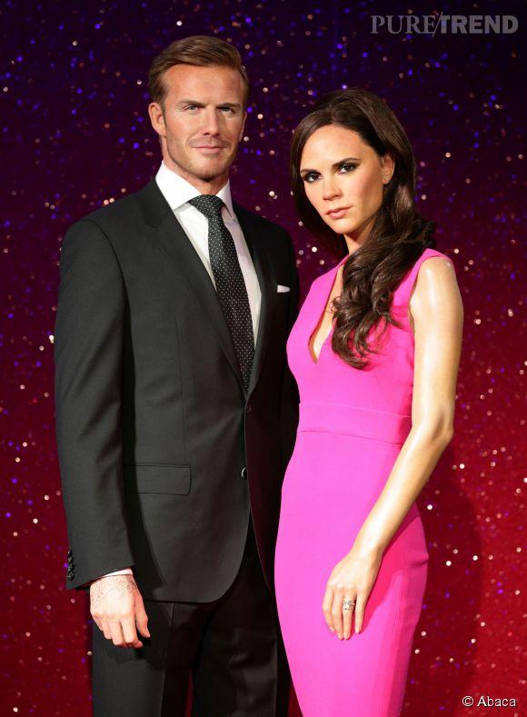 Victoria Beckham et David Beckham chez Madame Tussauds le 18 juin 2014.