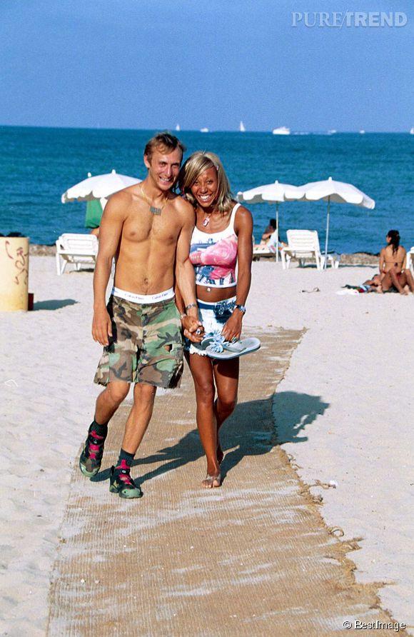 David Guetta et sa femme, Cathy, à Ibiza en 2001. La silhouette du dj a bien changé.