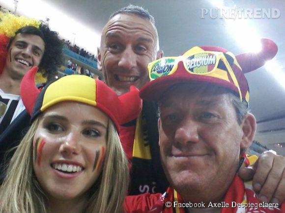 Axelle Despiegelaere supportrice de l'équipe Belge au Mondial 2014 au Brésil.