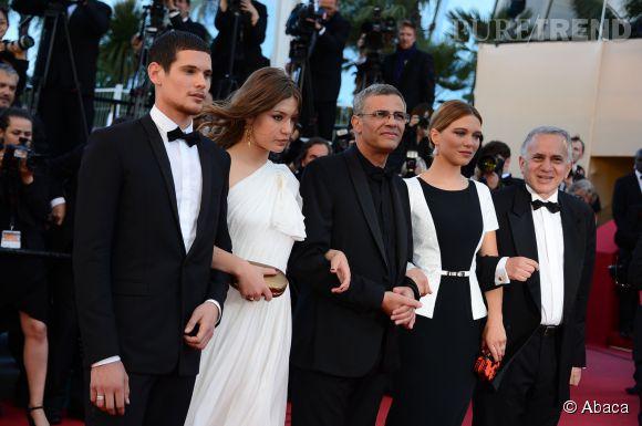 Jérémie Laheurte, Adele Exarchopoulos, Abdellatif Kechiche et Léa Seyoux au Festival de Cannes 2013.