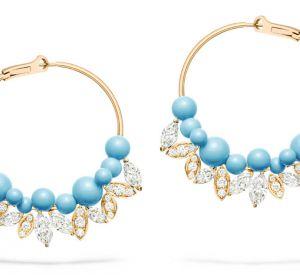 La collection Extremely de Piaget Boucles d'oreilles en or rose 18 carats serties de 12 diamants taille marquise (environ 5,30 carats), de 42 diamants taille marquise (environ 1,85 carats) et de 24 perles turquoises.