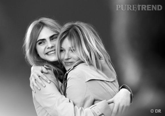 """Cara Delevingne et Kate Moss, deux icônes de style nous présentent la nouvelle création """"My Burberry""""."""