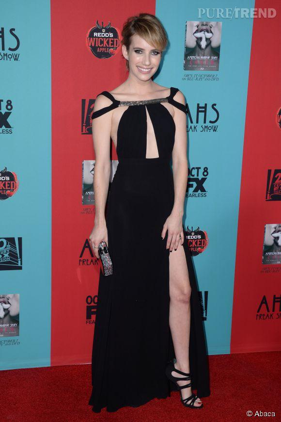 """Emma Roberts à la soirée de lancement de la nouvelle saison de la série """"American Horror Story"""", """"Freak Show"""" le 5 octobre 2014 à Los Angeles."""