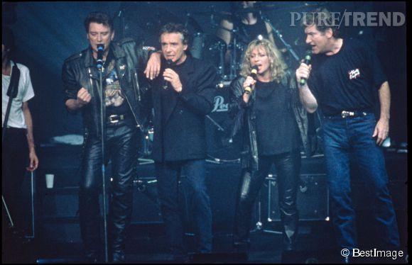 """""""Les Enfoirés"""" lors de leur tournée en 1989."""