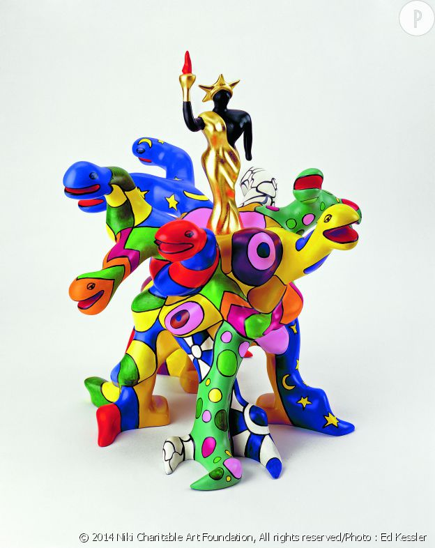 Tree of Liberty. maquette 2000 48 x 50 x 54 cm polyester, peinture et feuilles d'or. Niki Charitable Art Foudation, Santee, USA.