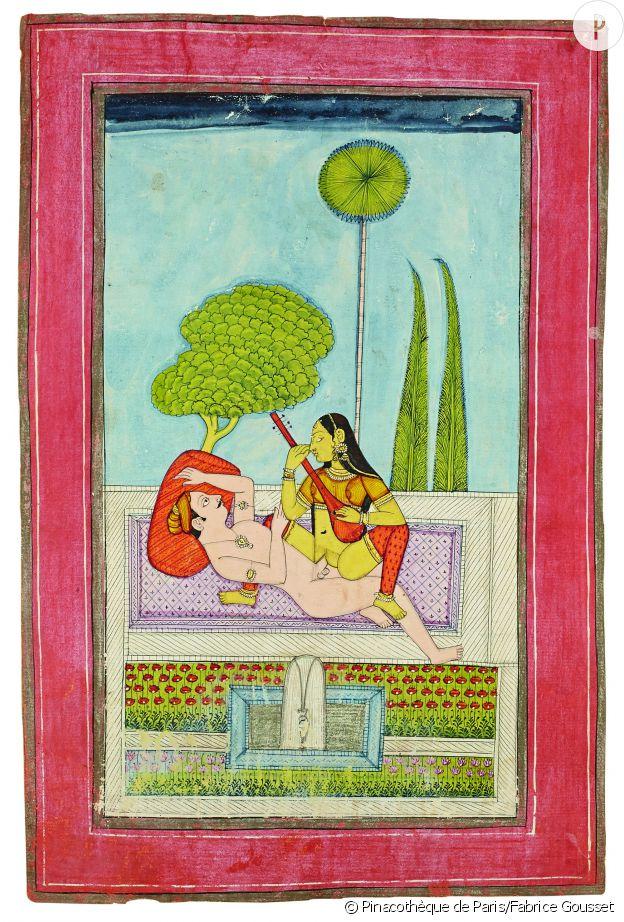 """""""Joueuse de vîna dans un jardin"""" École d'Orchha, Maddhya Pradesh. Pigment naturel et rehaut d'or sur papier. 26,7 x 19,1 cm. Collection privée."""