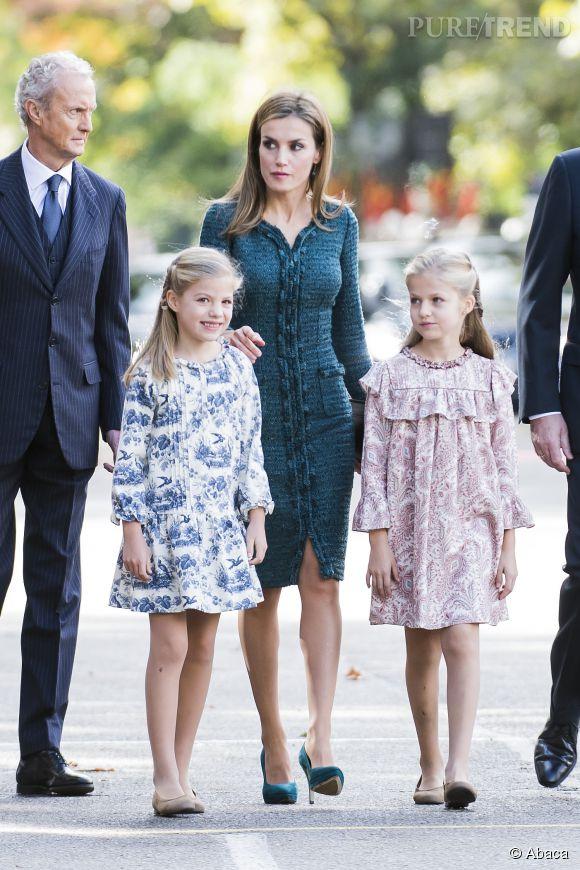 Sofia en bleu et Leonor en rose ont plus que jamais l'air de jumelles !
