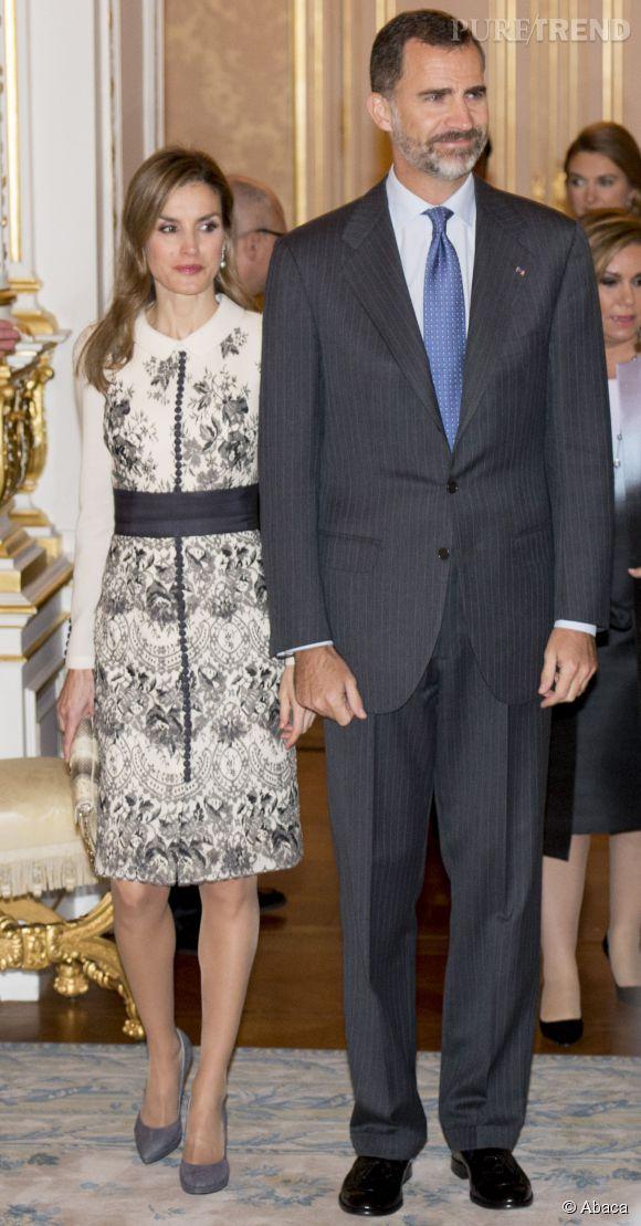 La reine Letizia d'Espagne en voyage officiel au Luxembourg le 11 novembre 2014.