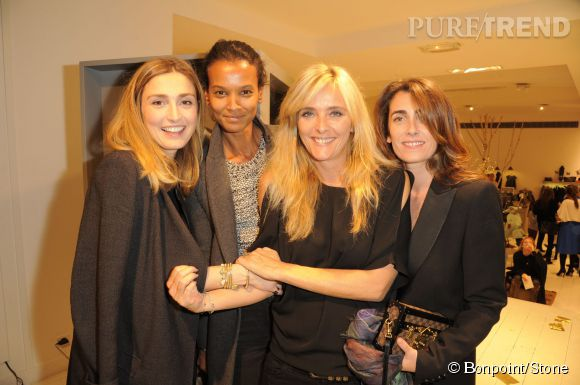 Julie Gayet, Liya Kebede, Marie Poniatowski la créatrice de Stone Paris et Mademoiselle Agnès lors du cocktail Bonpoint et Stone à Paris le 12 novembre 2014.