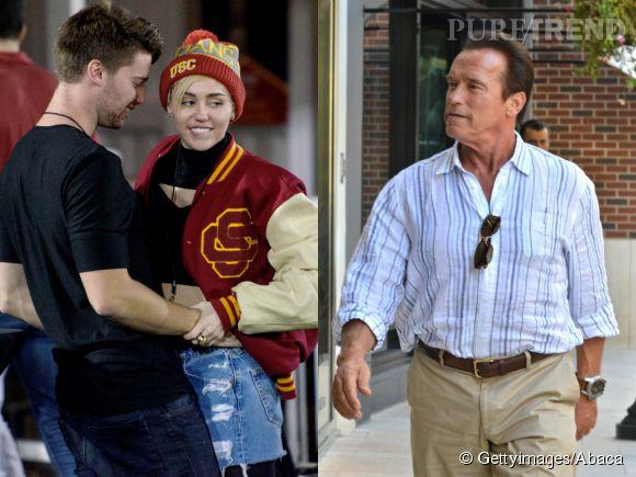 Miley Cyrus parviendra-t-elle a séduire Arnold Schwarzenegger, le père de son cher et tendre ?