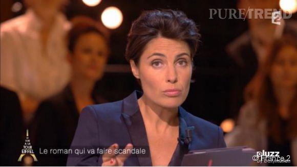 """Alessandra Sublet, la complice de Nicolas Bedos pour le gros canular sur le plateau de """"Un soir à la Tour Eiffel"""" sur  France 2 , mercredi 8 octobre 2014."""